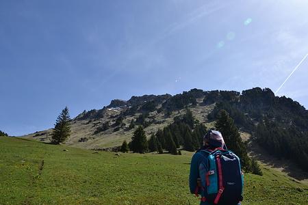 Der Grat zum Hächlenstock. der Aufstieg erfolgt zuerst im Wald und dann rechts hinauf auf den Grat.