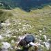 Steiles, erdiges Gras-Fels Gelände am Zindlenspitz Direktaufstieg