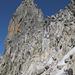 Aufstiegsroute durch die brüchige Rinne zum Poncione di Cassina Baggio