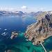 Geschafft! Auf dem Gipfel genossen wir die geniale Aussicht über die Fjords auf den Lofoten.