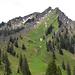 Das Rindalphorn kurz unterhalb des Güntlepasses; Beeindruckend die kilometerlange Felsmauer aus Nagelfluh, die bis zum Gipfel führt. Ein Teil des Weges vom Güntlepass führt direkt oberhalb dieser Felsmauer entlang.