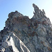 Die letzte Seillänge am Westgrat, der Zahn von Tsalion rechts<br />Foto C.