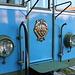 San Marino - Blick auf die Frontpartie des elektrischen Triebwagens AB 03. Schön ist auch das Wappen mit den drei Türmen zu erkennen.