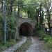 San Marino - Rückblick zur Galleria Montale. An das talseitige Tunnelportal schließt sich ein längeres Gleisstück an. Die Spurweite beträgt übrigens 950 mm. Links oben im Bild (Geländer) ist die Zuwegung von der Straße ans Gleis zu erahnen.
