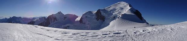 Panorama Dome du Gouter: Mont Blanc du Tacul, Mont Maudit und Mont Blanc