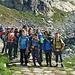 Die jungen Nachwuchsalpinisten vor ihrem Hauptquartier, der Bergseehütte, abmarschbereit zur heutigen Klettertour.