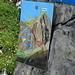 Hinweistafel für die Ferraristi:<br />- blau = Senda Verticala, der schwierige Klettersteig-Aufstieg<br />- rot = Senda Diagonala, der einfache Klettersteig-Abstieg (den ich auch zum Aufstieg genutzt hab)