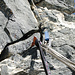 Der einzige Hinweis auf andere Kletterer - ein einsamer Schlaghaken welcher als Stand nach SL3 dient (mit Friend hintersichert).