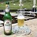 """<b>A mezzogiorno e trenta raggiungo la """"Jausenstation Stoankaser'n"""" (1984 m): fermata d'obbligo sulla terrazza per una buona birra della valle... </b>"""