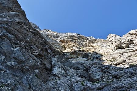 Blick nach oben am Einstieg.
