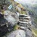 Zwischen Alpe Scinghino und Campala - Exponierte und heikle Stelle
