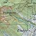 Karte: Glecksteinpfad (ausgezogene Linie) mit Zugang von Leimbach und Weiterwandermöglichkeiten im Erosionstrichter (gepunktete Linien).