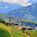 La Val Lumnezia: Vrin au premier plan, Lumbrein au fond