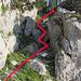 Das mittlere Abstiegscouloire von unten gesehen.