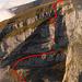 Schibenstoll-W-Flanke mit den beiden 25m-Abseilstellen