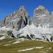 Tre cime di Lavaredo viste da sud,in evidenza la cima grande con la parete usata per la discesa...