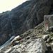 An der Schwachstelle der Hasenfluh. Zunächst am Bergschrund entlang und dann von rechts nach links hoch auf den Absatz.