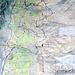 Meine mitgeführte Karte mit eingezeichneter Route. Start in Herbriggen, Ende in Randa-Attermenzen.