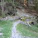 die bemooste Brücke über die Turniglia - von hier bis zum Bushalt in Trin Mulin ist es noch rund eine Viertelstunde