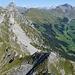 Tiefblick über den Chörbelihore NE-Grat. Darüber und über dem Färmeltal von links Rot-, Raufli- und Türmlihore sowie Gsür, am Horizont über dem hinteren Niesengrat von rechts Blüemlisalp bis Eiger