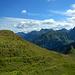 Blick in die Allgäuer Alpen zu Elferkopf und Walser Geißhorn.
