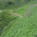 Aufstieg 50°+ Steilheit nach Bergamuzz