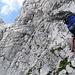 Ausgesetzte Wandpassage im Klettersteig