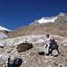 An der Gletscherzunge - weit über uns die Gipfelziele