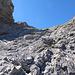 Das erste Steilstück im gut strukturierten Fels zum Sattel...teilweise mit sehr viel Schotter.