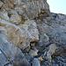 Über die eben beschriebene steile Platte gut versichert mit Seil und Trittbügeln nach oben.