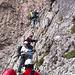 Wie immer am Pisciadu Klettersteig - jede Menge los und immer wieder auch Stau