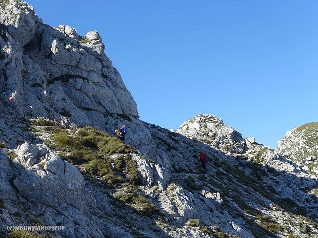 Klettersteiggeher am Weg zum Hexenturm