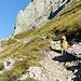 Unter den Felswänden umrundet der Steig den Berg