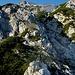 Der erste Felsaufschwung am Kleinen Falk - am besten links der Rinne in Bildmitte überklettern