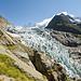 Weitwinkelaufnahme des Gletscherabbruchs vom Wegrand aus