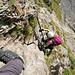 Die kürzere der zwei Leitern in der Steilstufe bei Rots Gufer