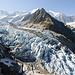 Fast der gesamte Abbruch im Überblick. Leider war der untere Teil des Gletschers äusserst hell von der Sonne beleuchtet, was sich in der Nachbearbeitung nur bedingt ausgleichen liess...