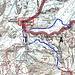 Cartina della Weißkugel.,con l'itinerario in rosso da noi percorso