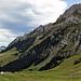östlicher Teil der nördlichen Alpsteinkette, aufgenommen beim Einstieg in die Nasenlöcher Route