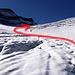 Hier die gross geschwungene S-Kurve beim Gletscherabbruch.