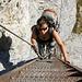 Kathrin auf den Leitern im letzten Teil