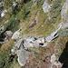 la scala di sasso/legno, ora semidistrutta, vista dall'alto