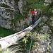 ... sowie der Umgehung der Tyrolienne auf schwankenden Baumstämmen, über welchen das Seil m.E. etwas zu wenig straff, resp. zu weit seewärts gespannt ist