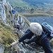 meine vier Bergkameraden im steilen Felsaufstieg zum Schwiren