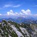 Der Legföhren-bestandene NE-Grat des Mattstocks mit Blick auf die Goggeien und den Alpstein