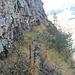 la cengia che porta dall'intaglio del Lago Piccolo all'ometto di quota 2170 m