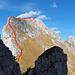Ungefährer Aufstieg entlang dem Savigny-SW-Grat