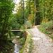 """Der skurrile, nur wenige Meter lange """"Privatweg"""" über eine kleine Brücke, direkt nach dem Beginn des ersten Tobels"""