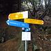 Wegweiser auf dem Sattel nördlich des Sassariente. Hier biegt man auf den blauweissen Abstecher zum Gipfel ab.