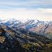 Martelltal und die verschneiten Gipfel der Ortler Region